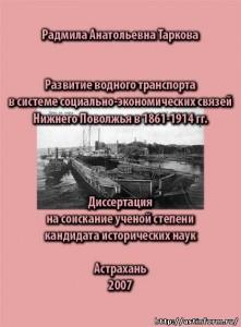 Радмила Анатольевна Таркова - Развитие водного транспорта в системе социально-экономических связей Нижнего Поволжья в 1861-1914 гг.